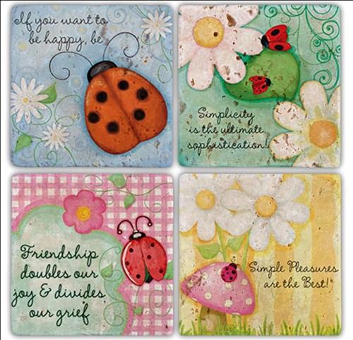 Ladybug Doğal Taş Bardak Altlıkları - BA149 görseli, Picture 1