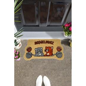 Giz Home İtalyan Kokardo Kapı Paspası 40X70 Yumaklı Kediler - 103IKYUKE1931 görseli