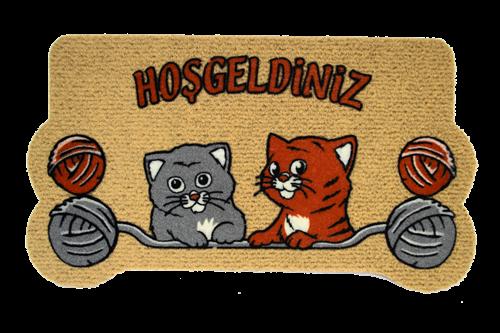Giz Home İtalyan Kokardo Kapı Paspası 40X70 Yumaklı Kediler - 103IKYUKE1931 görseli, Picture 2