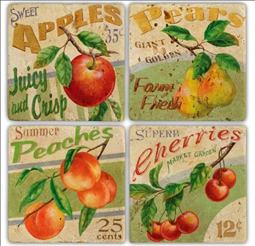 Meyveler Doğal Taş Bardak Altlıkları  - BA168 görseli, Picture 1