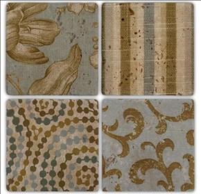 Fabric Pattern Doğal Taş Bardak Altlıkları  - BA188 görseli