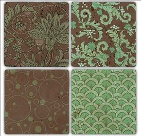 Green Pattern Doğal Taş Bardak Altlıkları - BA198 görseli