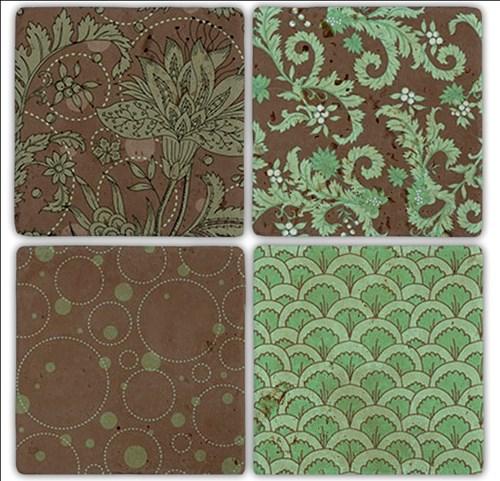 Green Pattern Doğal Taş Bardak Altlıkları - BA198 görseli, Picture 1