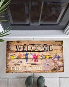 Giz Home Mozaik Kapı Paspası 45X75 Welcome Kuşlar - 103MZWCKS1916 görseli