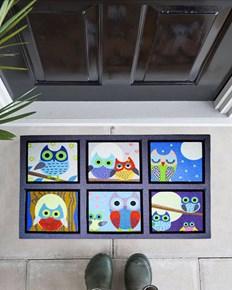 Giz Home Mozaik Kapı Paspası 45X75 Sweet Baykuşlar - 103MZSWBA1916 görseli