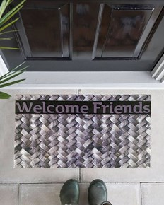 Giz Home Mozaik Kapı Paspası 45X75 Welcome Frıends Örgü - 103MZORWF1916 görseli