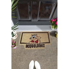 Giz Home İtalyan Kokardo Kapı Paspası 40X70 Welcome Kedi - 103IKWCKE1931 görseli