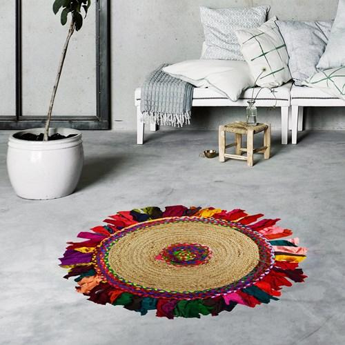 Giz Home Bolero Jut Örgü Halı 90x90 Y4-232 Yuvarlak Püsküllü - 309BOB2323233 görseli, Picture 1