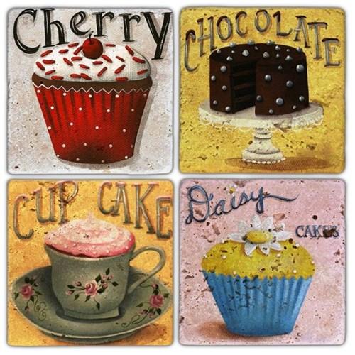 Cherry Cupcake  Doğal Taş Bardak Altlıkları - BA226 görseli, Picture 1