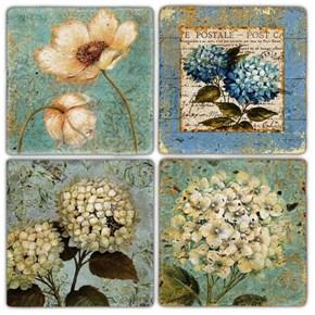 Flower Vintage Doğal Taş Bardak Altlıkları - BA229 görseli