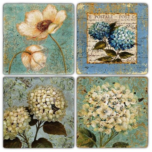 Flower Vintage Doğal Taş Bardak Altlıkları - BA229 görseli, Picture 1