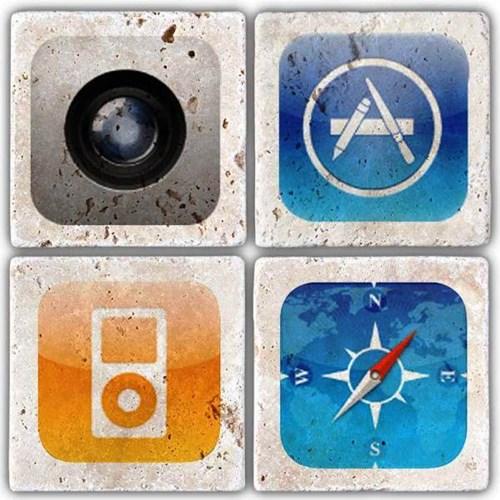 Apple icon's  Doğal Taş Bardak Altlıkları - BA236 görseli, Picture 1