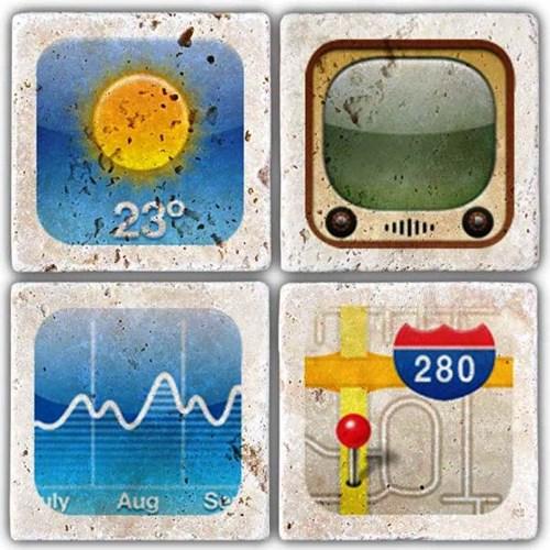 Apple icon'S iii  Doğal Taş Bardak Altlıkları - BA238 görseli, Picture 1