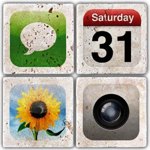 Apple icon's Doğal Taş Bardak Altlıkları- BA239 görseli, Picture 1