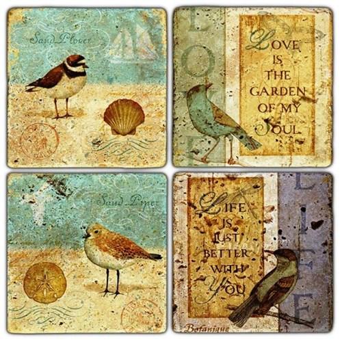 Sand Bird Doğal Taş Bardak Altlıkları - BA240 görseli, Picture 1