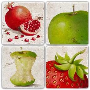 Gerçek Meyveler Doğal Taş Bardak Altlıkları  - BA241 görseli