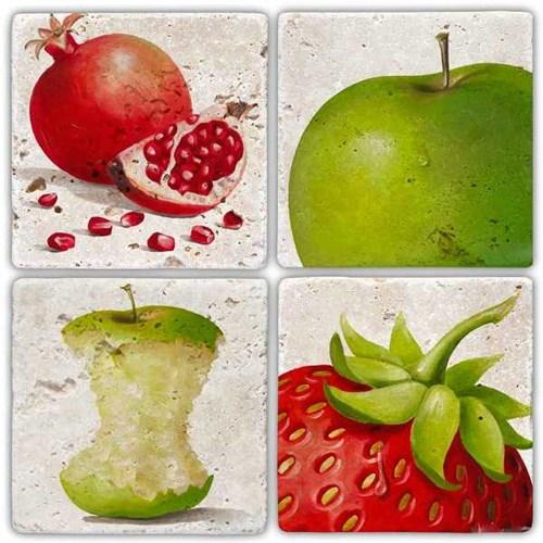 Gerçek Meyveler Doğal Taş Bardak Altlıkları  - BA241 görseli, Picture 1