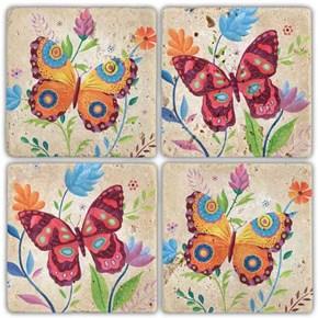Color Butterfly  Doğal Taş Bardak Altlıkları - BA251 görseli