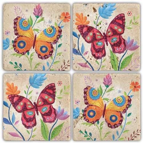 Color Butterfly  Doğal Taş Bardak Altlıkları - BA251 görseli, Picture 1