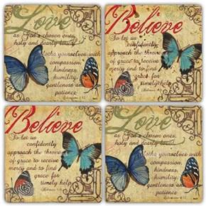 Love Believe Doğal Taş Bardak Altlıkları - BA252 görseli