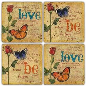 Be Love   Doğal Taş Bardak Altlıkları- BA255 görseli