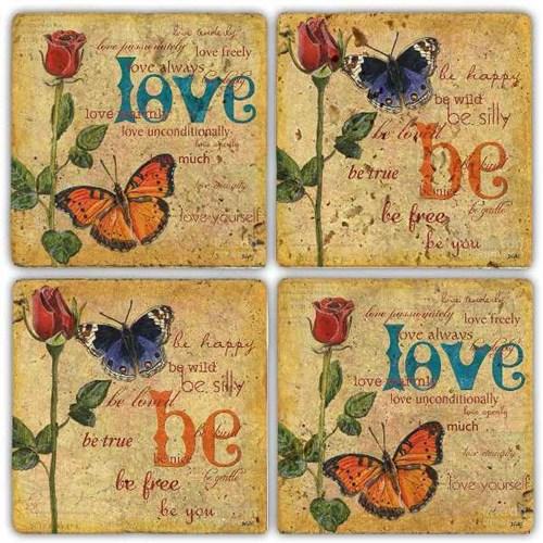 Be Love   Doğal Taş Bardak Altlıkları- BA255 görseli, Picture 1