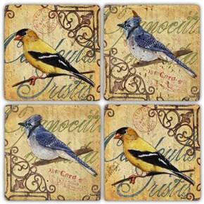 Sari-Mavi Kuş Doğal Taş Bardak Altlıkları - BA259 görseli