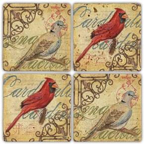Kırmızı Kuş Doğal Taş Bardak Altlıkları - BA260  görseli