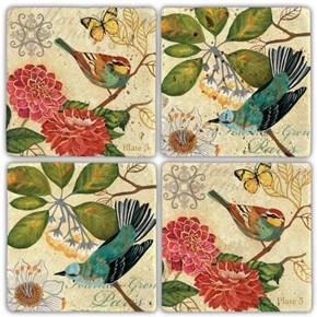 Daldaki Kuşlar  Doğal Taş Bardak Altlıkları - BA263 görseli