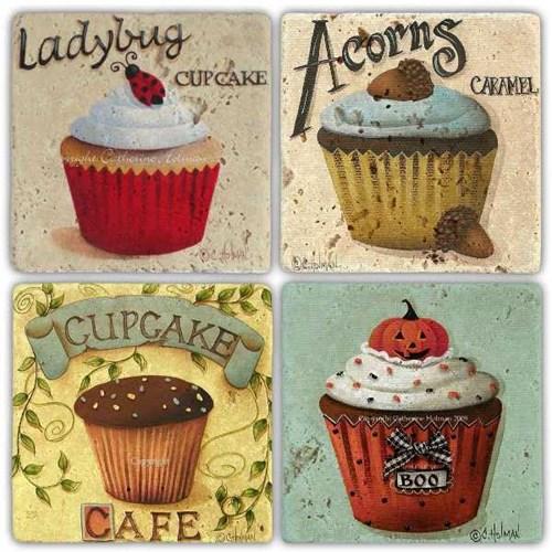 Acorns Muffin Doğal Taş Bardak Altlıkları - BA267 görseli, Picture 1