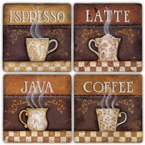 Coffee Time  Doğal Taş Bardak Altlıkları - BA271 görseli