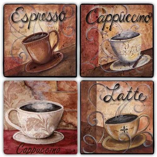 Latte Time Doğal Taş Bardak Altlıkları - BA277 görseli, Picture 1