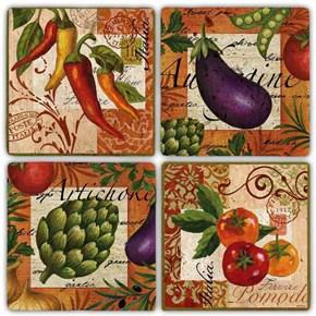 Renkli Sebzeler Doğal Taş Bardak Altlıkları  - BA280 görseli