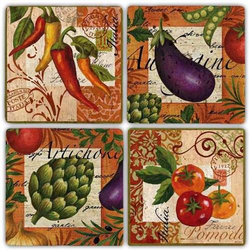 Renkli Sebzeler Doğal Taş Bardak Altlıkları  - BA280 görseli, Picture 1