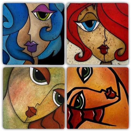 Woman Face Doğal Taş Bardak Altlıkları - BA283 görseli, Picture 1