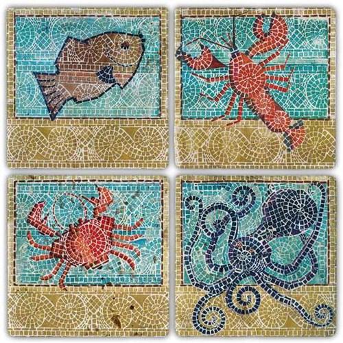 Mosaic Animal Doğal Taş Bardak Altlıkları - BA290 görseli, Picture 1