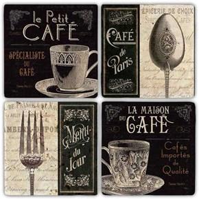 Cafe De Paris  Doğal Taş Bardak Altlıkları - BA294 görseli