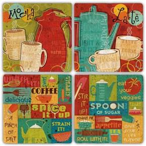 Color Coffee  Doğal Taş Bardak Altlıkları - BA300 görseli