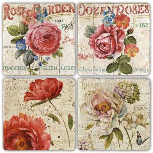 Rose Garden Doğal Taş Bardak Altlıkları - BA301 görseli, Picture 1