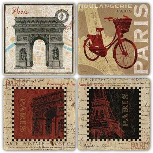 Panaroma De Paris Doğal Taş Bardak Altlıkları - BA302 görseli, Picture 1