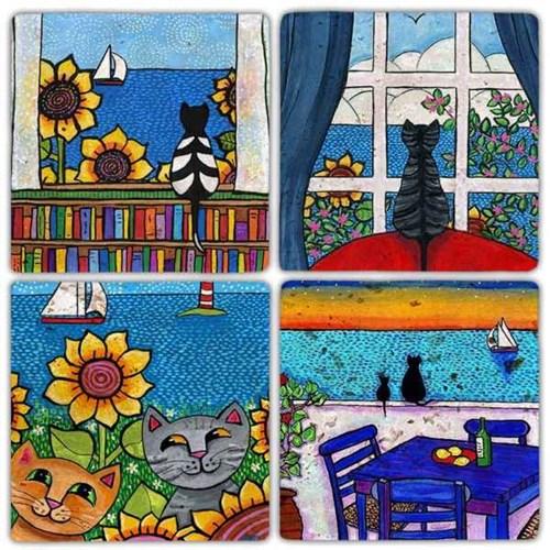 Cat Color  Doğal Taş Bardak Altlıkları - BA305 görseli, Picture 1