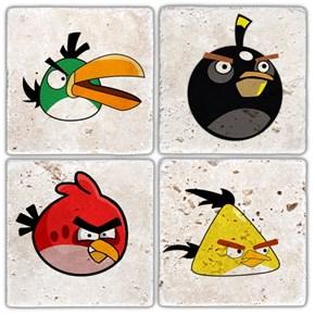 Angry Bird's Doğal Taş Bardak Altlıkları - BA309 görseli
