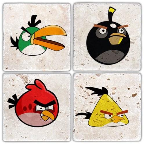Angry Bird's Doğal Taş Bardak Altlıkları - BA309 görseli, Picture 1