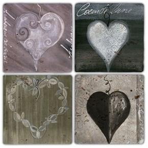 Kırık Kalpler Doğal Taş Bardak Altlıkları - BA318 görseli