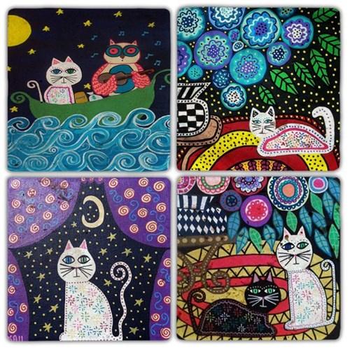 Gece Kedisi Doğal Taş Bardak Altlıkları  - BA319 görseli, Picture 1