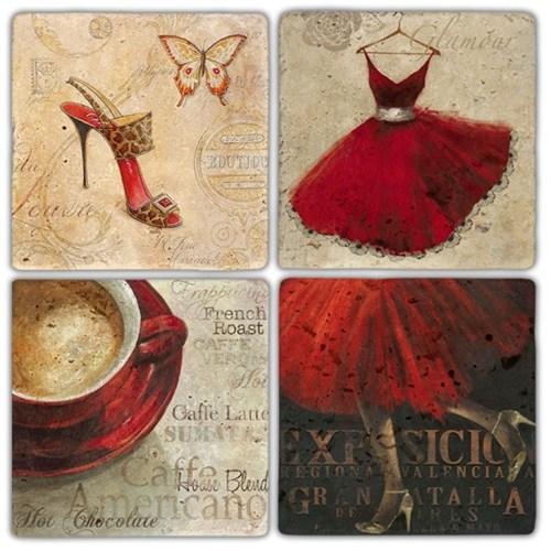 Red Woman Doğal Taş Bardak Altlıkları - BA320 görseli, Picture 1