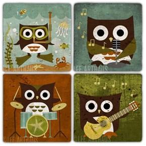 Musician Owl Doğal Taş Bardak Altlıkları  - BA323 görseli