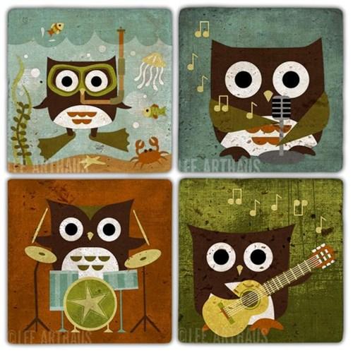 Musician Owl Doğal Taş Bardak Altlıkları  - BA323 görseli, Picture 1