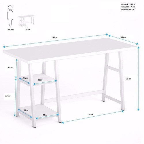 Zizuva Beyaz Çalışma Masası - ZZ2000V200102 görseli, Picture 3