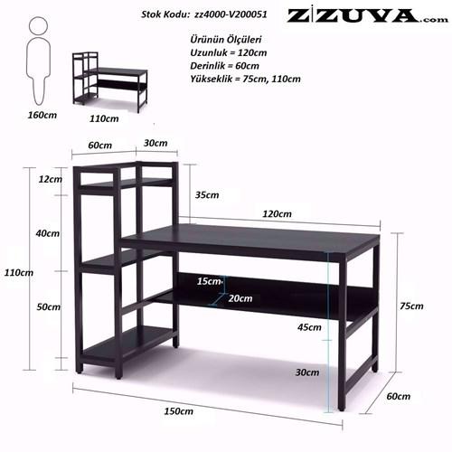 Zizuva Beyaz Raflı Çalışma Masası - ZZ2000-V200071 görseli, Picture 4